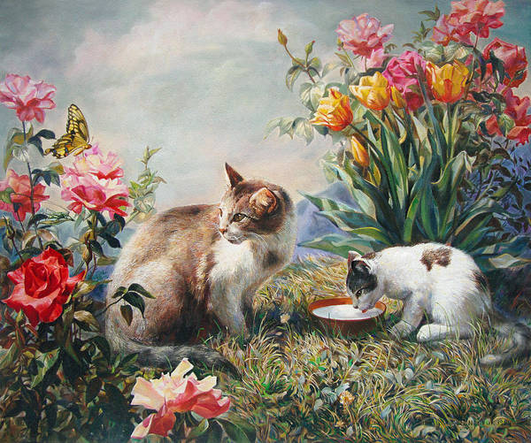 Milk Poster featuring the painting What A Girl Kitten Wants by Svitozar Nenyuk