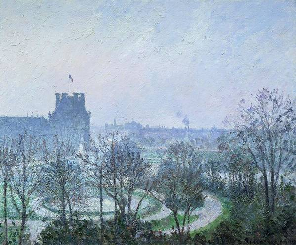 White Poster featuring the painting White Frost Jardin Des Tuileries by Camille Pissarro