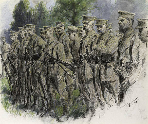 Soldier Poster featuring the pastel Fall In Norfolk Volunteers by Frank Gillett