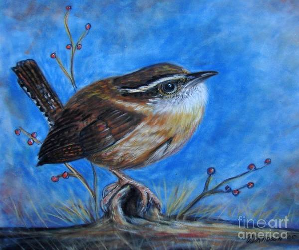 Birds Poster featuring the painting Carolina Wren by Patricia L Davidson