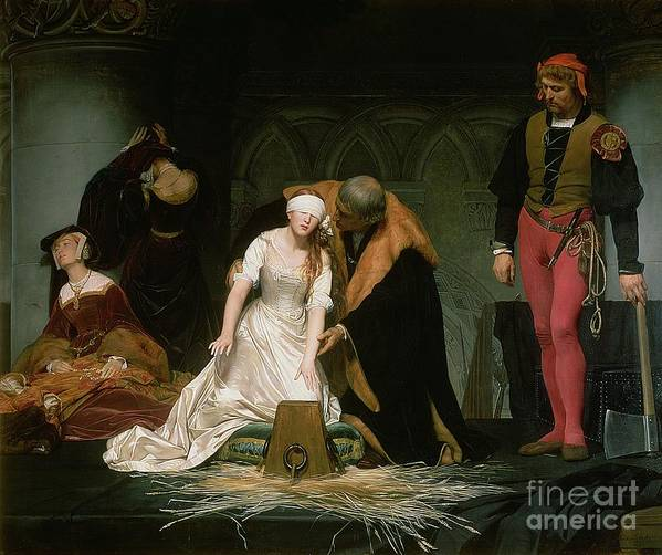 Execution Poster featuring the painting The Execution Of Lady Jane Grey by Hippolyte Delaroche