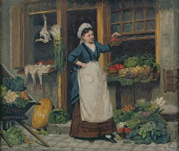The Poster featuring the painting The Fruit Seller by Victor Gabriel Gilbert