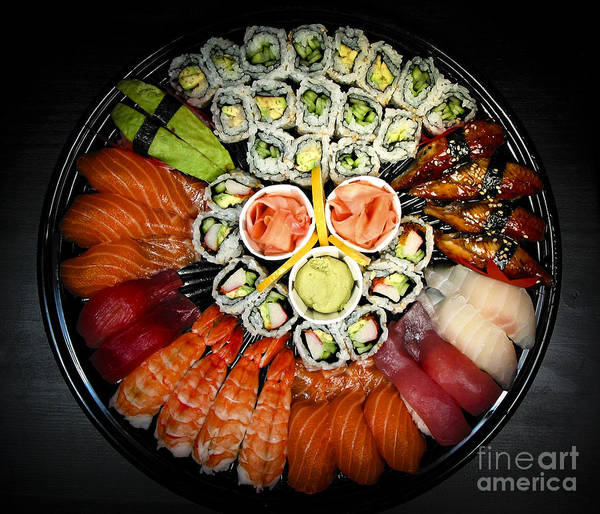 Food Poster featuring the photograph Sushi Party Tray by Elena Elisseeva