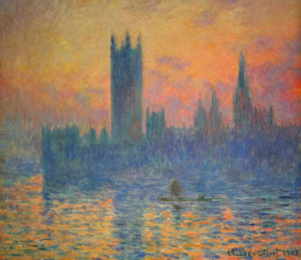 The Houses Of Parliament Poster featuring the photograph Monet's The Houses Of Parliament At Sunset by Cora Wandel