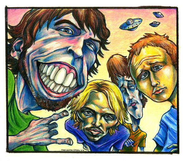 Foo Fighters Poster featuring the drawing Foo Fighters by John Ashton Golden