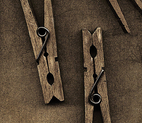 Still Life Poster featuring the mixed media Three Clothes Pins by Bob RL Evans