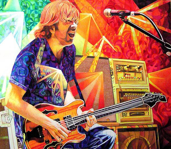 Trey Anastasio Poster featuring the drawing Trey Anastasio Squared by Joshua Morton