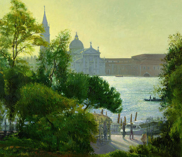 Maggiore; Canal; Gondola; Cathedral; Sunset; View; Venice; Trees Poster featuring the painting San Giorgio - Venice by Timothy Easton