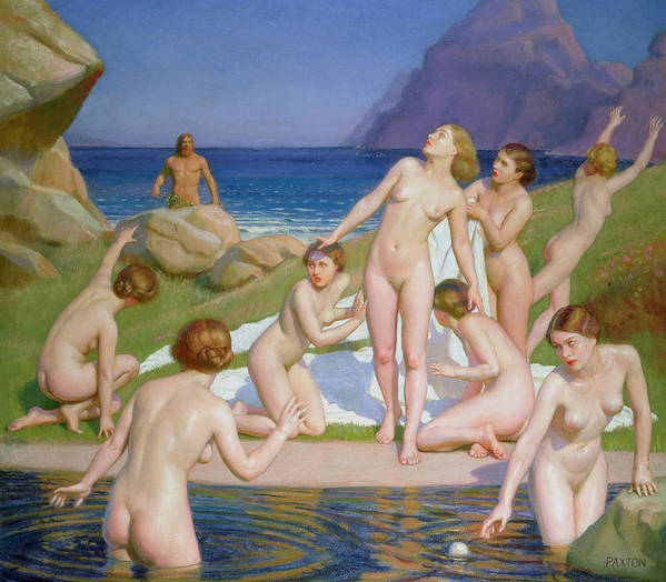 Naked Poster featuring the painting Nausicaa by William McGregor Paxton