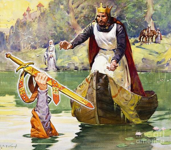 King Arthur; Excalibur; Sword; Lady Of The Lake; Round Table; Crown Poster featuring the painting Arthur And Excalibur by James Edwin McConnell