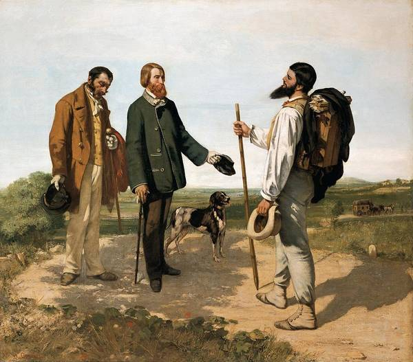 Horizontal Poster featuring the photograph Courbetgustave 1819-1877. The Meetingor by Everett