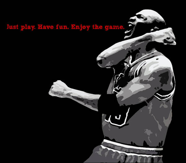 Michael Jordan Poster featuring the digital art Just Play by Mike Maher
