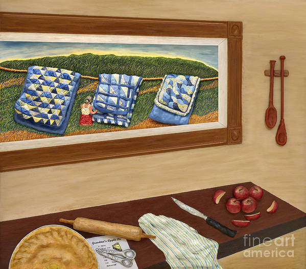 Pie Poster featuring the sculpture Grandma's Apple Pie by Anne Klar