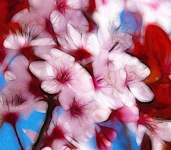 Japanese Flower Cherry Blossoms Nature Spring Fauna Oil Pastel Painting Red Pink White Sky Color Colorful Expressionism Abstract Beauty Still Life Poster featuring the pastel Japanese Flower by Stefan Kuhn