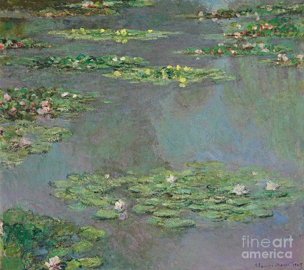 Lily Pond; Impressionist; Giverny; Blue; Flowers; Green; Lily Pad; Lily Pads; Pond; Pink; Water Lillies Poster featuring the painting Nympheas by Claude Monet