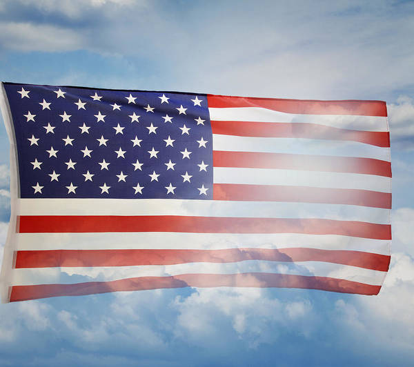 American Poster featuring the photograph American Flag by Les Cunliffe