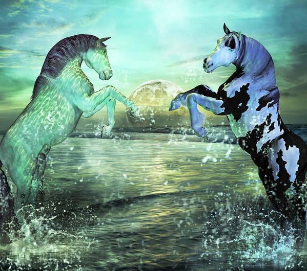 Horse Poster featuring the mixed media Nautical Treasures by Betsy Knapp