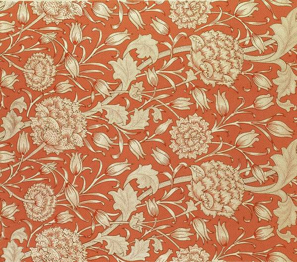 Tulips Poster featuring the tapestry - textile Tulip Wallpaper Design by William Morris