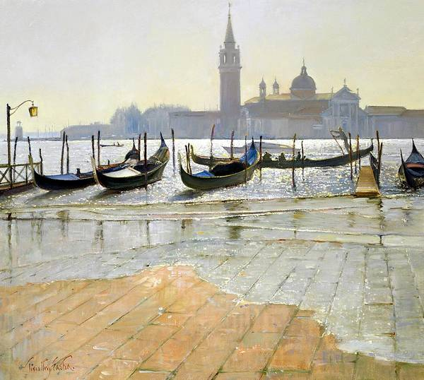 Gondola; Canal; San Giorgio Maggiore; Sunrise; Flooding; Flooded; Landscape Poster featuring the painting Venice At Dawn by Timothy Easton