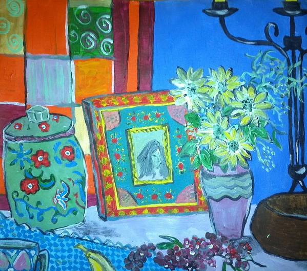 Daisies Poster featuring the painting Daisies Fennel And Red Peppercorns by Julie Butterworth