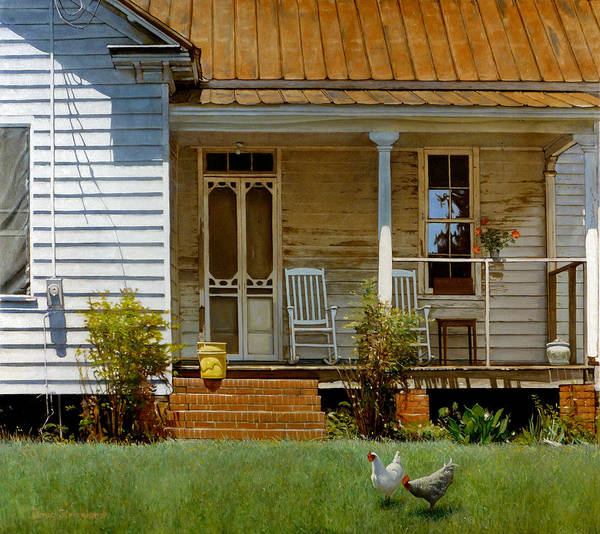 Doug Strickland Poster featuring the painting Geraniums On A Country Porch by Doug Strickland