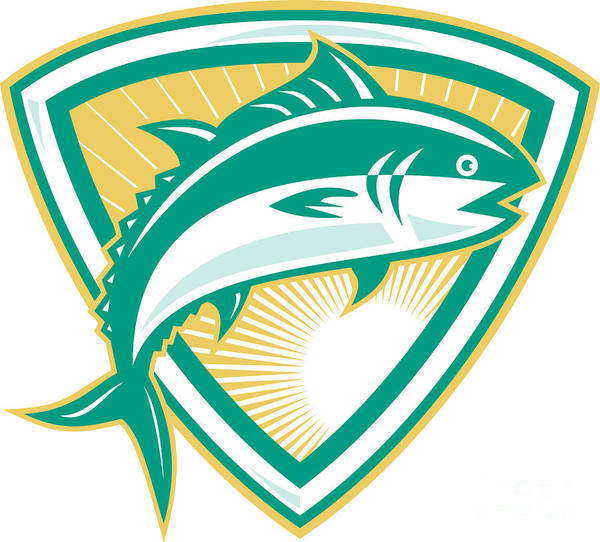 Bluefin Poster featuring the digital art Bluefin Tuna Fish Jumping With Shield Retro by Aloysius Patrimonio