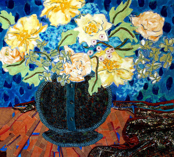 Flowers In A Vase Poster featuring the mixed media Button Up Vase by Diane Fine