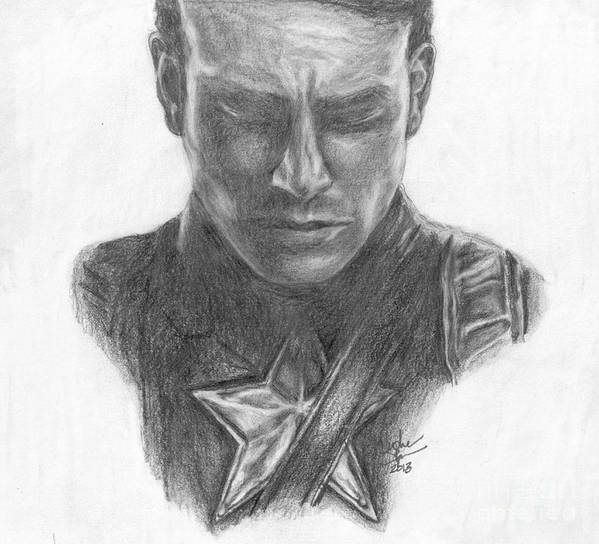Steve Rogers Poster featuring the drawing Captain America by Christine Jepsen