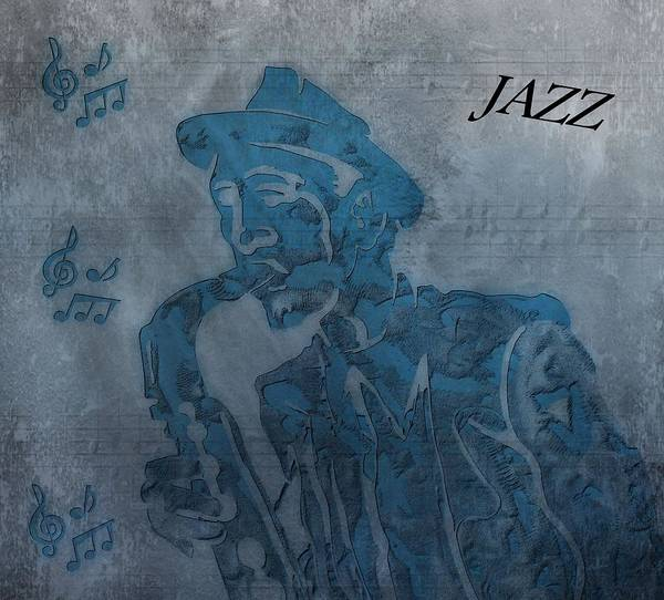 Jazz Saxophone Music Poster featuring the digital art Jazz Man by Dan Sproul