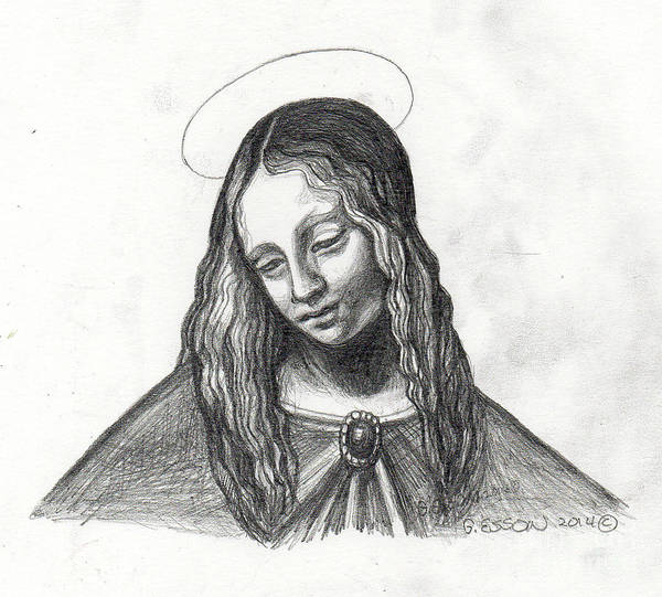 Mary Poster featuring the painting Mary After Davinci by Genevieve Esson