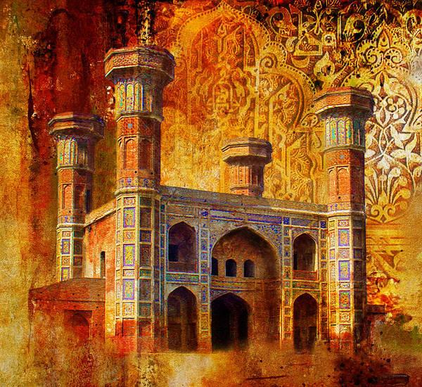 Pakistan Poster featuring the painting Chauburji Gate by Catf