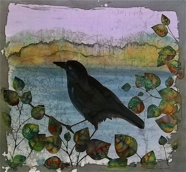 Ravens Poster featuring the tapestry - textile Raven In Colored Leaves by Carolyn Doe