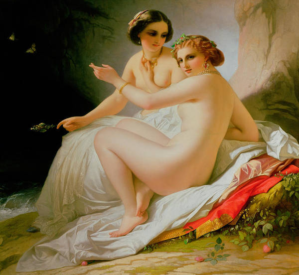 Nude Poster featuring the painting The Bathers by Louis Hersent
