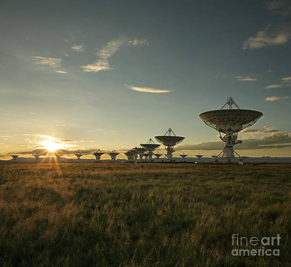 Satellite Dish Poster featuring the photograph Vla At Sunset by Matt Tilghman