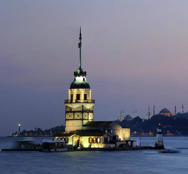 Horizontal Poster featuring the photograph Maiden's Tower At Sunset by Ayhan Altun