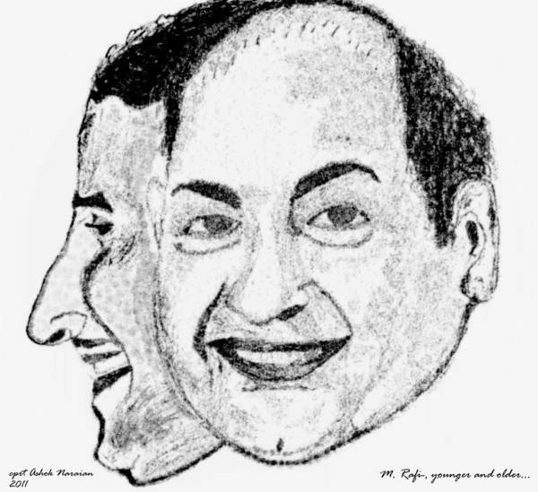 Mohammed Rafi Poster featuring the drawing Mohammed Rafi Sketch Younger And Older by Ashok Naraian