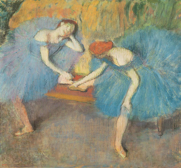 2 Poster featuring the pastel Two Dancers At Rest by Edgar Degas