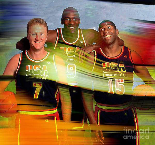 Poster featuring the mixed media Larry Bird Michael Jordon And Magic Johnson by Marvin Blaine