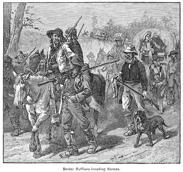 1856 Poster featuring the photograph Kansas: Border Ruffians by Granger