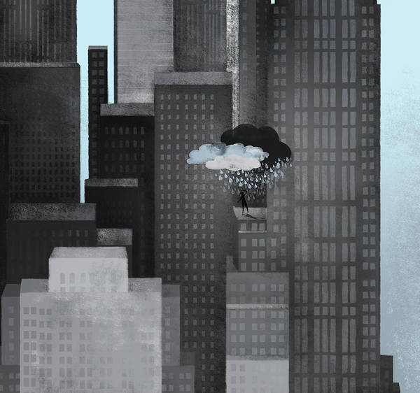 Horizontal Poster featuring the digital art A Person On A Skyscraper Under A Storm Cloud Getting Rained On by Jutta Kuss