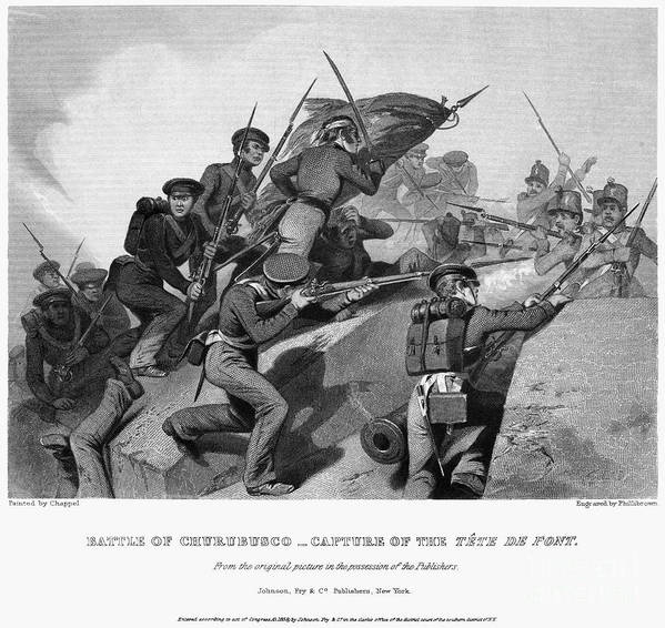 1847 Poster featuring the photograph Battle Of Churubusco, 1847 by Granger