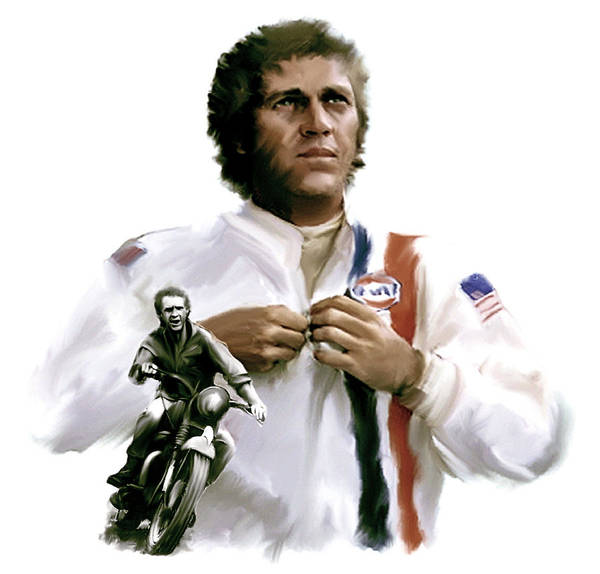 Steve Mcqueen Poster featuring the painting American Icon Steve Mcqueen by Iconic Images Art Gallery David Pucciarelli