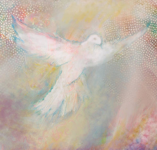 Christian Poster featuring the painting Peace Dove by Anne Cameron Cutri
