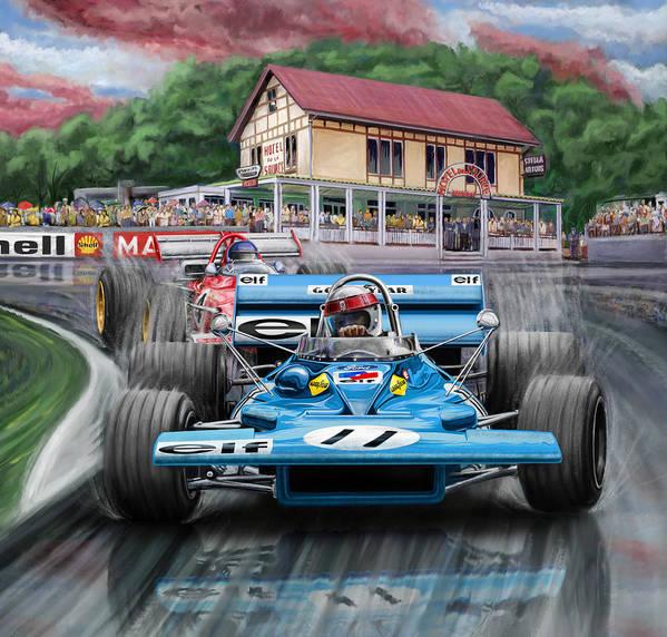 Jackie Stewart Poster featuring the digital art Jackie Stewart At Spa In The Rain by David Kyte