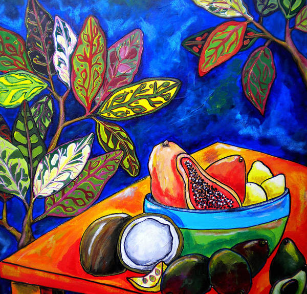 Tropical Poster featuring the painting Papaya Morning by Patti Schermerhorn