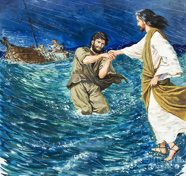 Jesus Christ; Miracle; Saint Peter; St; Lake; Fisherman; Fishing Boat; Storm; Wave; Sinking; Helping; Belief; Believing; Followers Poster featuring the painting The Miracles Of Jesus Walking On Water by Clive Uptton