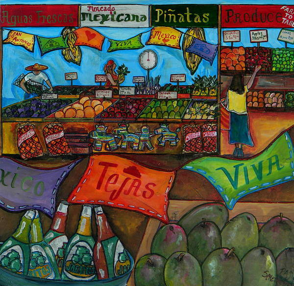 Farmers Market Poster featuring the painting Mercado Mexicana by Patti Schermerhorn