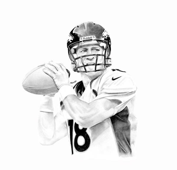 Manning Poster featuring the drawing Peyton Manning by Don Medina