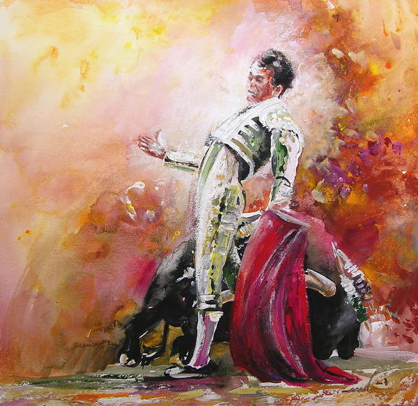 Animals Poster featuring the painting Bullfight 24 by Miki De Goodaboom