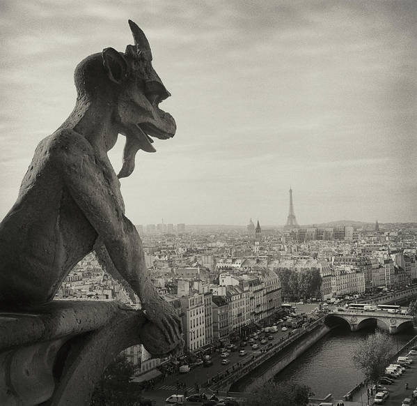 Horizontal Poster featuring the photograph Gargoyle Of Notre Dame by Zeb Andrews